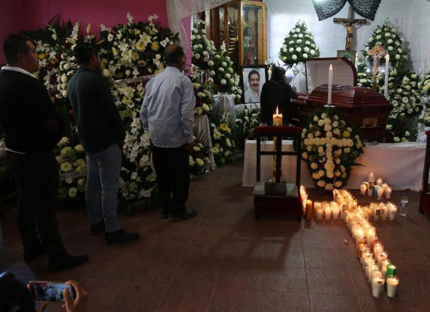 View of the Jan. 2, 2019, wake for Mayor Alejandro Aparicio, who was killed just minutes after taking office in the southern Mexican town of Tlaxiaco. Aparicio, who belonged to the leftist Morena party, was killed on Jan. 1, 2019. EFE-EPA/ Str