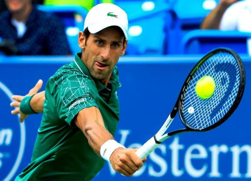 Novak Djokovic of Serbia in action against Marin Cilic of Croatia in their semifinal match in the Western & Southern Open tennis tournament at the Lindner Family Tennis Center in Mason, Ohio, USA, 18 August 2018. EFE