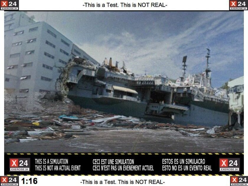 San Diego State University created this illustration of a mock 17-foot tsunami surge thrusting the carrier Midway into a building in downtown San Diego.