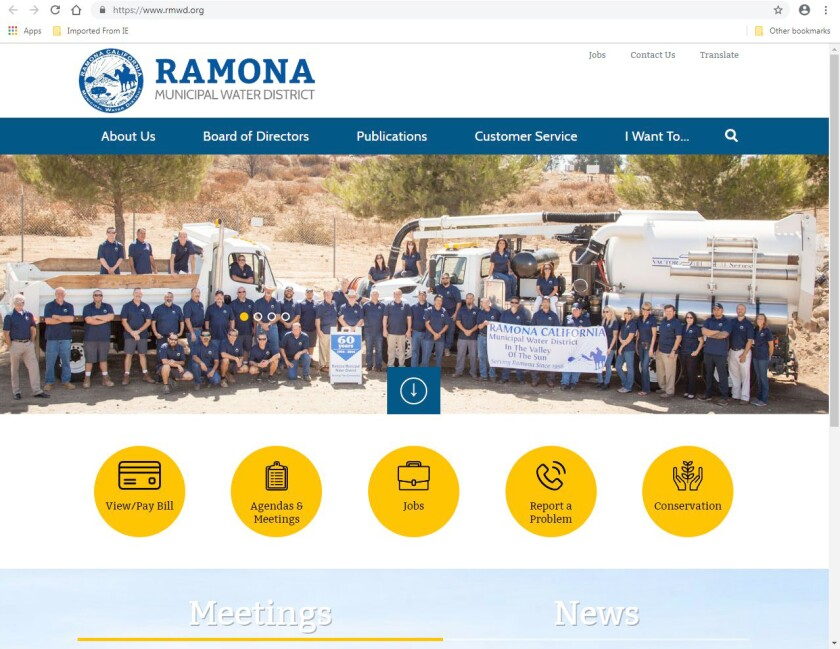 Ramona Municipal Water District's website, rmwd.org, has been updated with features designed to provide quick access to information.
