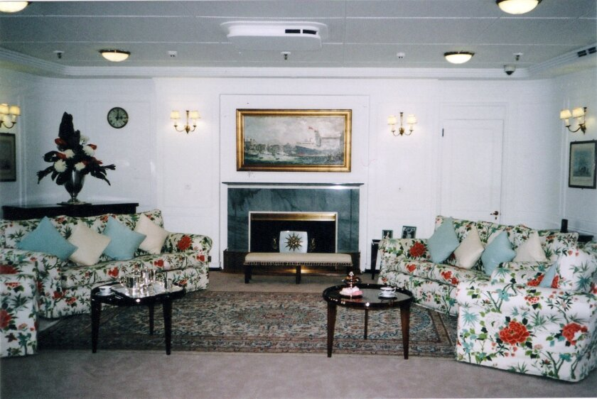 The State Drawing Room on the Britannia was a favorite place for the royal family to relax and sing songs.