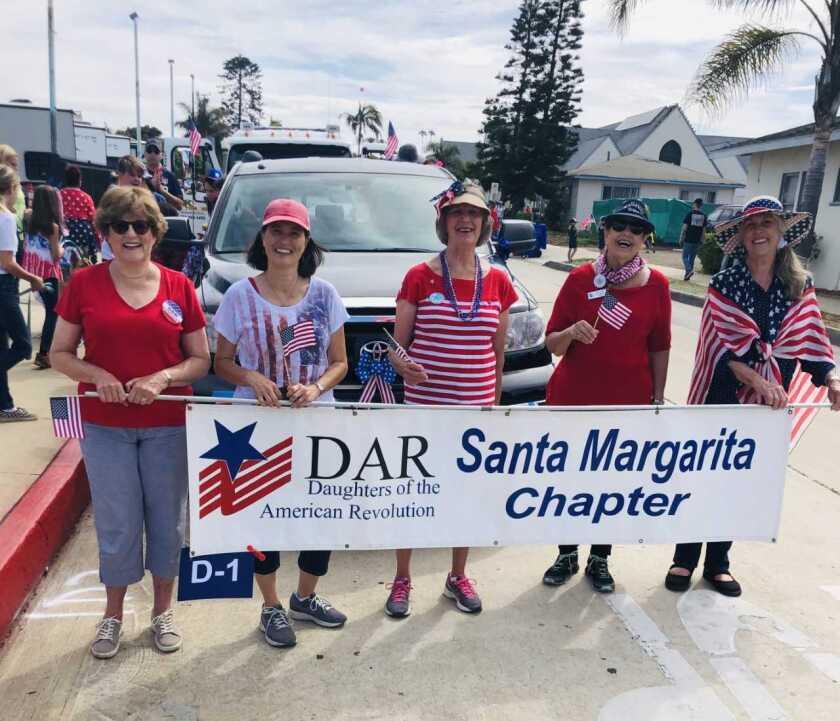 The Santa Margarita Chapter of the Daughters of the American Revolution entered a small group in the city of Oceanside's Independence Day Parade. The parade was on the same day that many members were in Washington, D.C., for the annual DAR Continental Congress. The Santa Margarita Chapter, originally chartered as the Oceanside Chapter, will celebrate 90 years in October. From left: Charla Boodry, Kellie Stafford, Mary Catherine Kirby, Diana Cook and Jacquie Berzins. Visit santamargarita.californiadar.org.