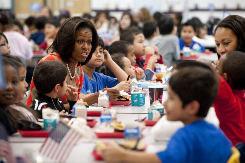 US First Lady Michelle Obama eats lunch