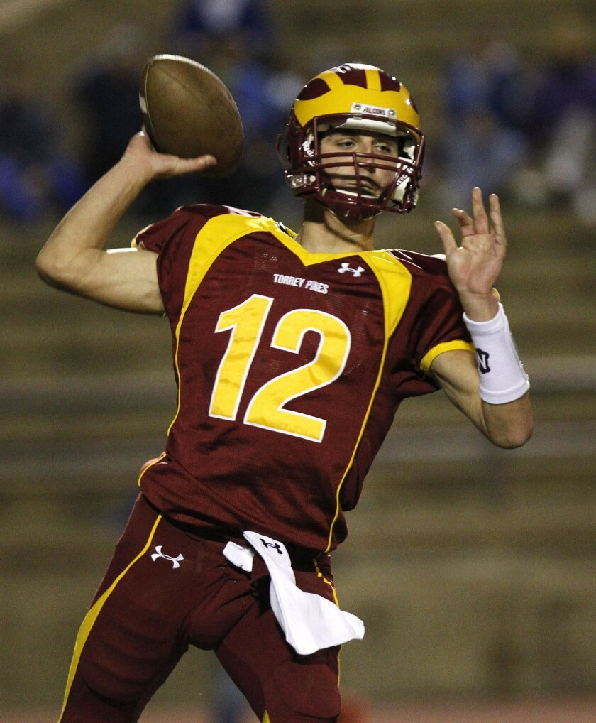Quarterback John Cabot has helped Torrey Pines go 8-0 this season. The Falcons play Palomar League rival Poway on Friday.