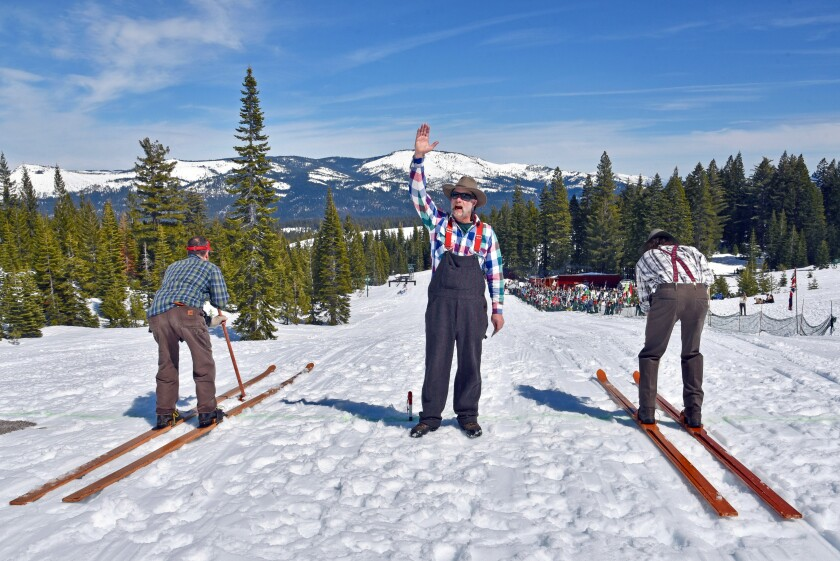 Craig Kusener and Greg Hinds are set to race on longboard skis in Johnsville, Calif.