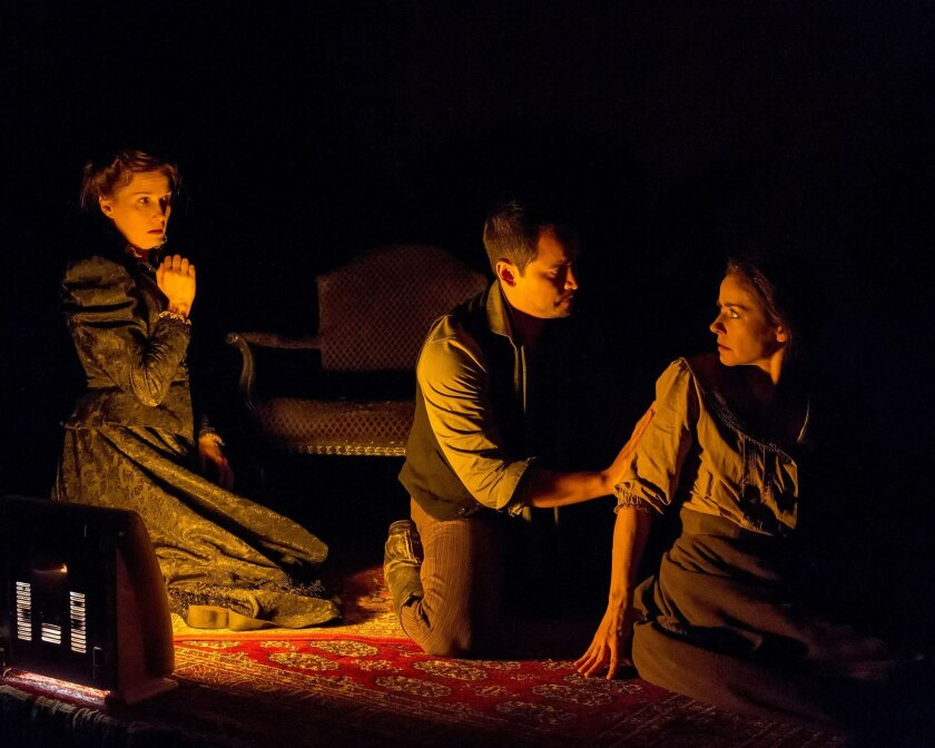 "Sue Cremin, Ramón de Ocampo and Ruth Livier (left to right) in La Jolla Playhouse's production of ""Neva."""