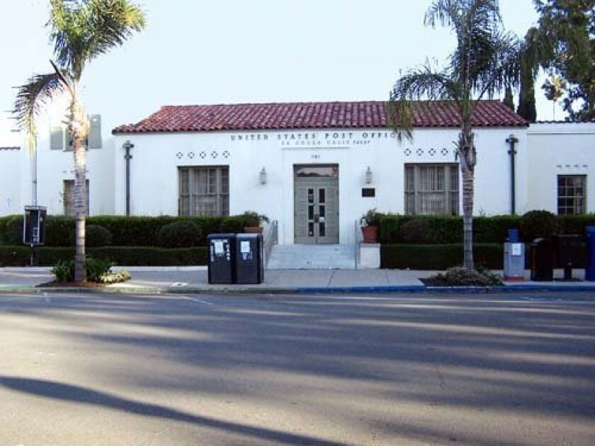 The La Jolla Post Office Building at 1140 Wall St. is a 77-year-old, WPA-project era edifice.