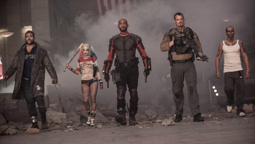 """From left, Jai Courtney, Margot Robbie, Will Smith, Joel Kinnaman and Jay Hernandez in """"Suicide Squad."""""""