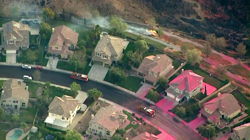 A neighborhood in Santa Clarita during the battle against the Tick fire in October.