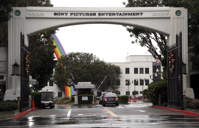 Cars enter Sony Pictures Entertainment headquarters in Culver City on Dec. 2.