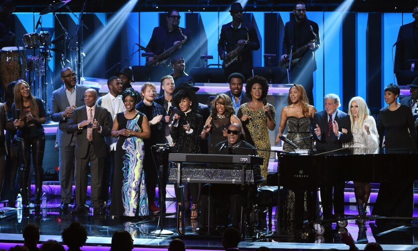 "Stevie Wonder is joined by guest performers including Jennifer Hudson, Lady Gaga and Tony Bennett during the finale of ""Stevie Wonder: Songs in the Key of Life -- An All-Star Grammy Salute,"" at the Nokia Theatre on Feb. 10"
