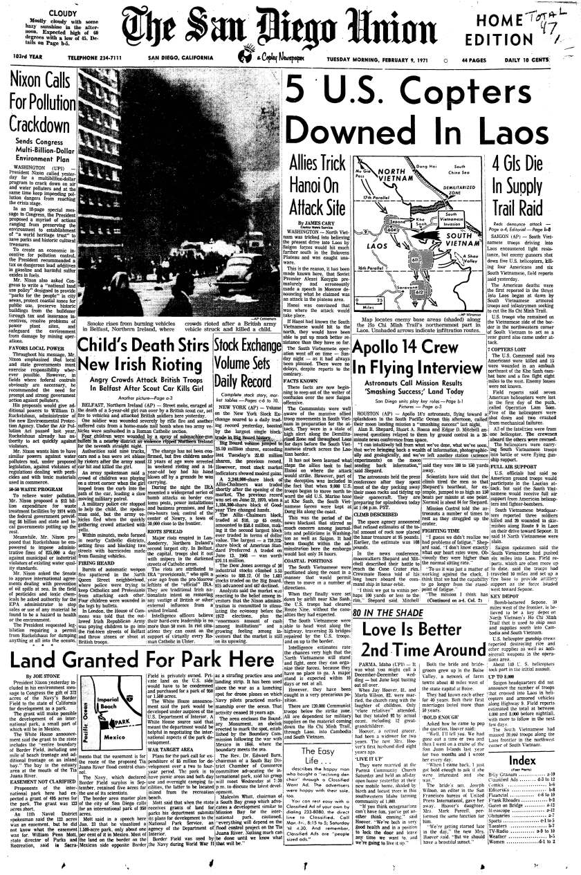 Union front page Feb. 9, 1971