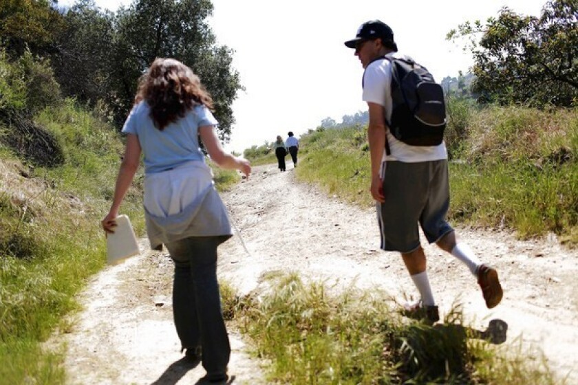 Hikers use the Hastain Trail in Franklin Canyon Park in Los Angeles.