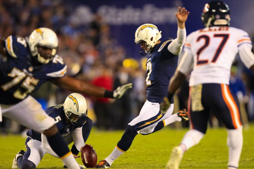 CHARGERS vs. BEARS..Chargers Josh Lambo comes in for the field goal before the end of the 2nd quarter...