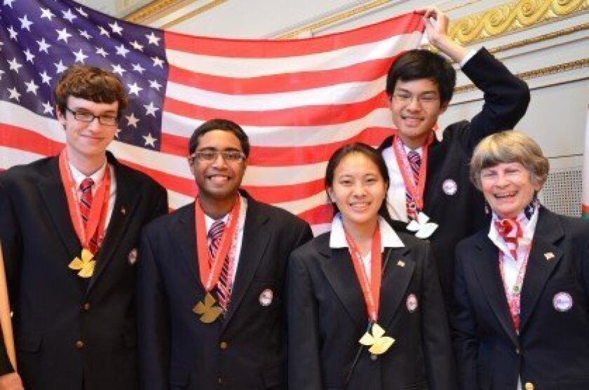 Canyon Crest Academy senior Catherine Wu (second from right) won the gold medal at the 24th International Biology Olympiad recently at Bern, Switzerland.