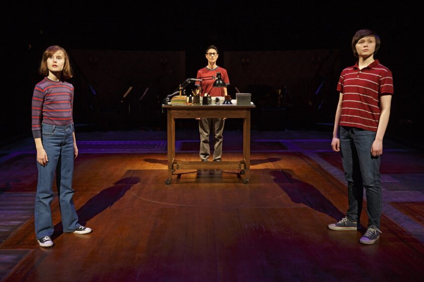 """Fun Home"" features Sydney Lucas, left, Beth Malone and Emily Skeggs as Alison Bechdel at different ages in a deeply moving, original play that takes risks."