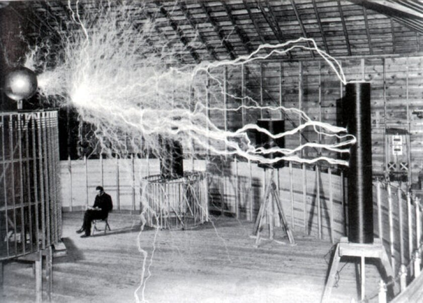 Nikola Tesla in the lab he set up in Colorado Springs, Colo., in 1899 to study electric energy by generating millions of volt.
