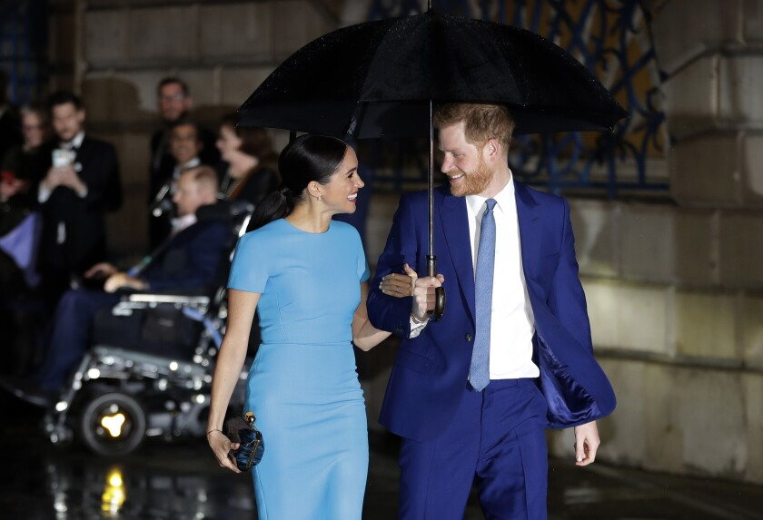 Britain's Prince Harry and Meghan, the Duke and Duchess of Sussex.