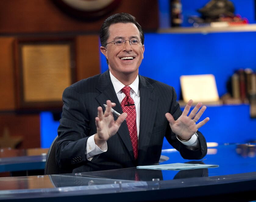"""Stephen Colbert on the set of Comedy Central's """"The Colbert Report."""""""