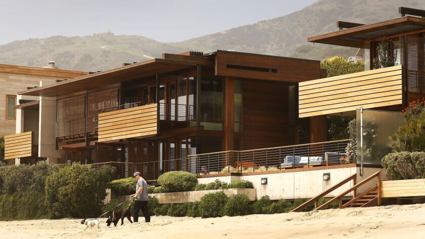 MALIBU, CA - APRIL 23, 2018: A home compound on Carbon Beach also known as Billionaire's Beach in M
