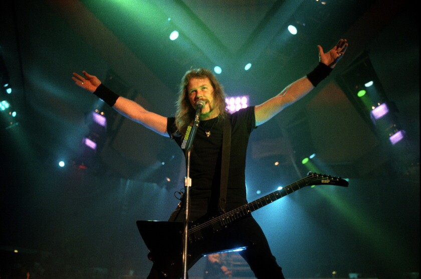 01.13.1992 -- James Hetfield of Metallica on stage with band at Sports Arena. (Scott Linnett/San Diego Union-Tribune file photo)