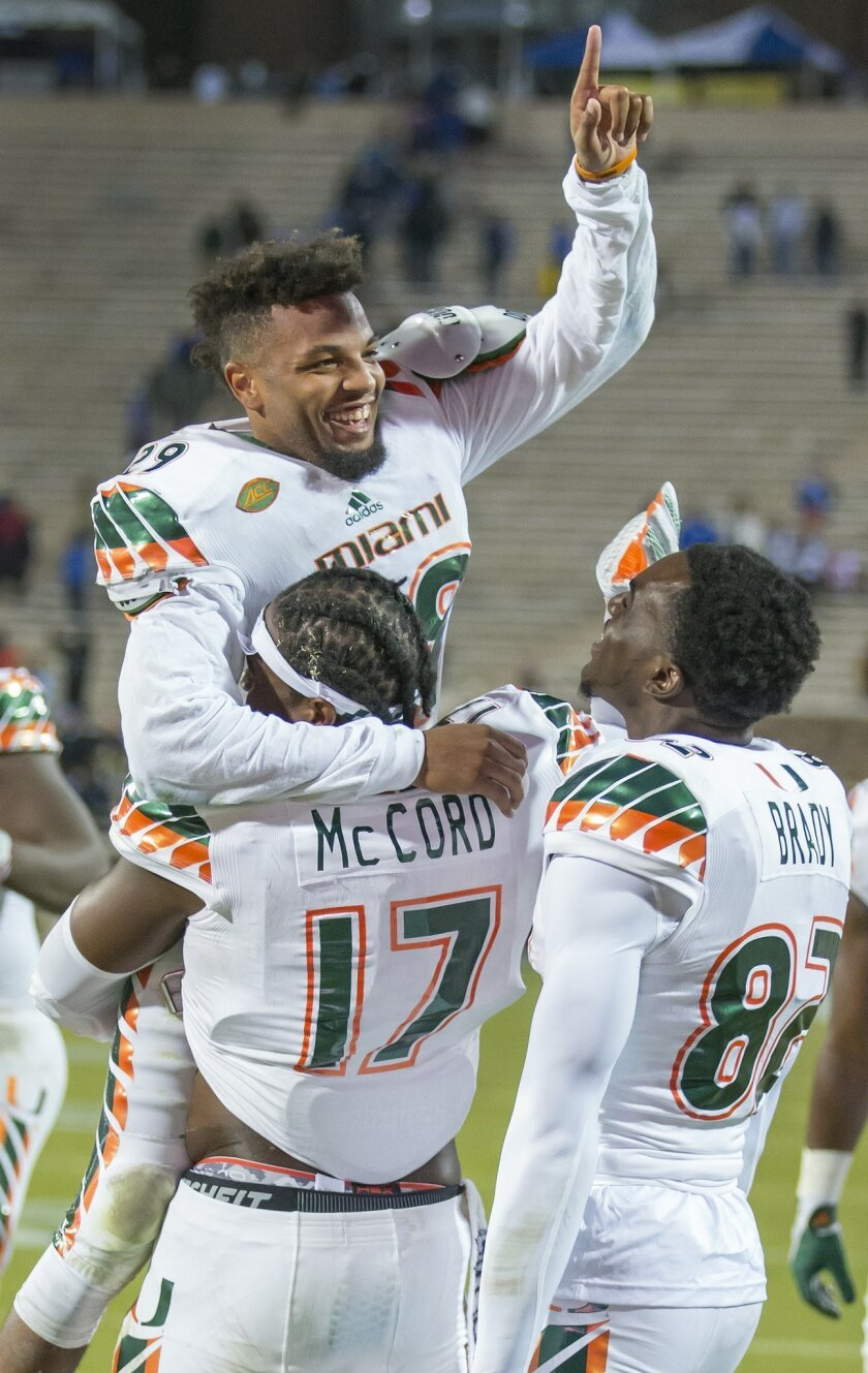 Miami's Corn Elder celebrates with teammate Tyriq McCord after he scored on a kickoff return to beat Duke 30-27 in an NCAA college football game, in Durham, N.C., Saturday, Oct. 31, 2015. (AP Photo/Rob Brown)