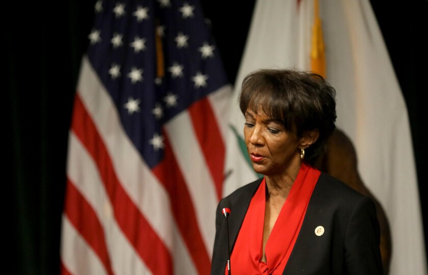 Los Angeles County Dist. Atty. Jackie Lacey speaks at a news conference on Oct. 6.