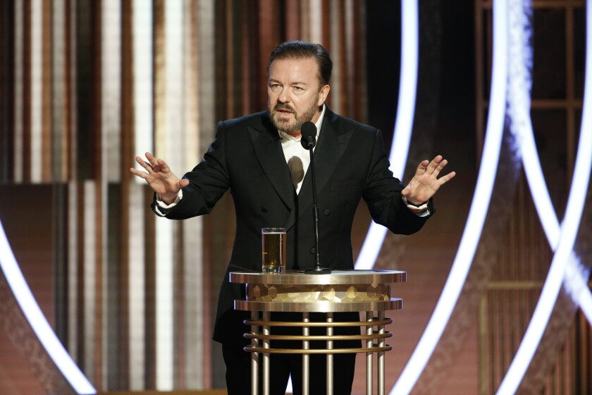 Ricky Gervais hosts the 77th Golden Globe Awards on NBC.