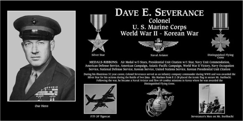 Retired Marine Col. Dave Severance of La Jolla was honored with a plaque at the Mount Soledad National Veterans Memorial.