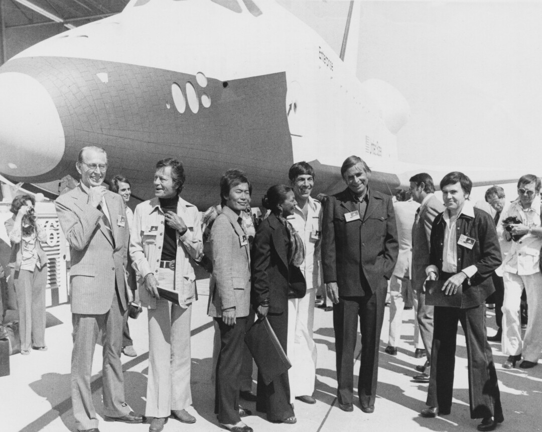 """The space shuttle orbiter OV-101, dubbed Enterprise, unveiled in 1976 in Palmdale with """"Star Trek"""" cast members."""