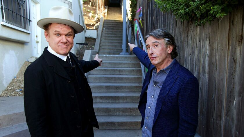"""Actors Steve Coogan and John C Reilly, who play Stan Laurel and Oliver Hardy, respectively in the biopic of the comedy duo """"Stan & Ollie""""."""
