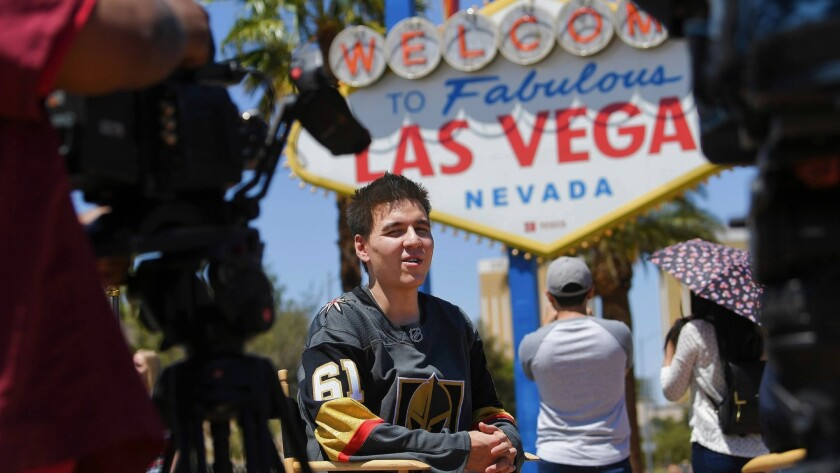 """Jeopardy!"" Winner James Holzhauer is interviewed after receiving a key to the Las Vegas Strip from"