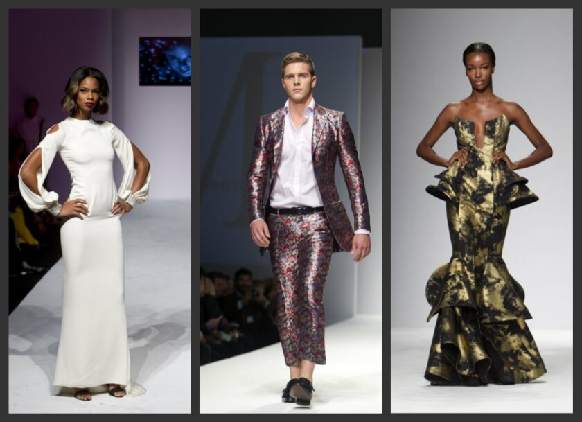 From left, an off-white gown with cut-out sleeves and crystal cuffs from Ina Soltani; Malan Breton's floral suit with cropped trousers; and Michael Costello's gold and black metallic mermaid gown.