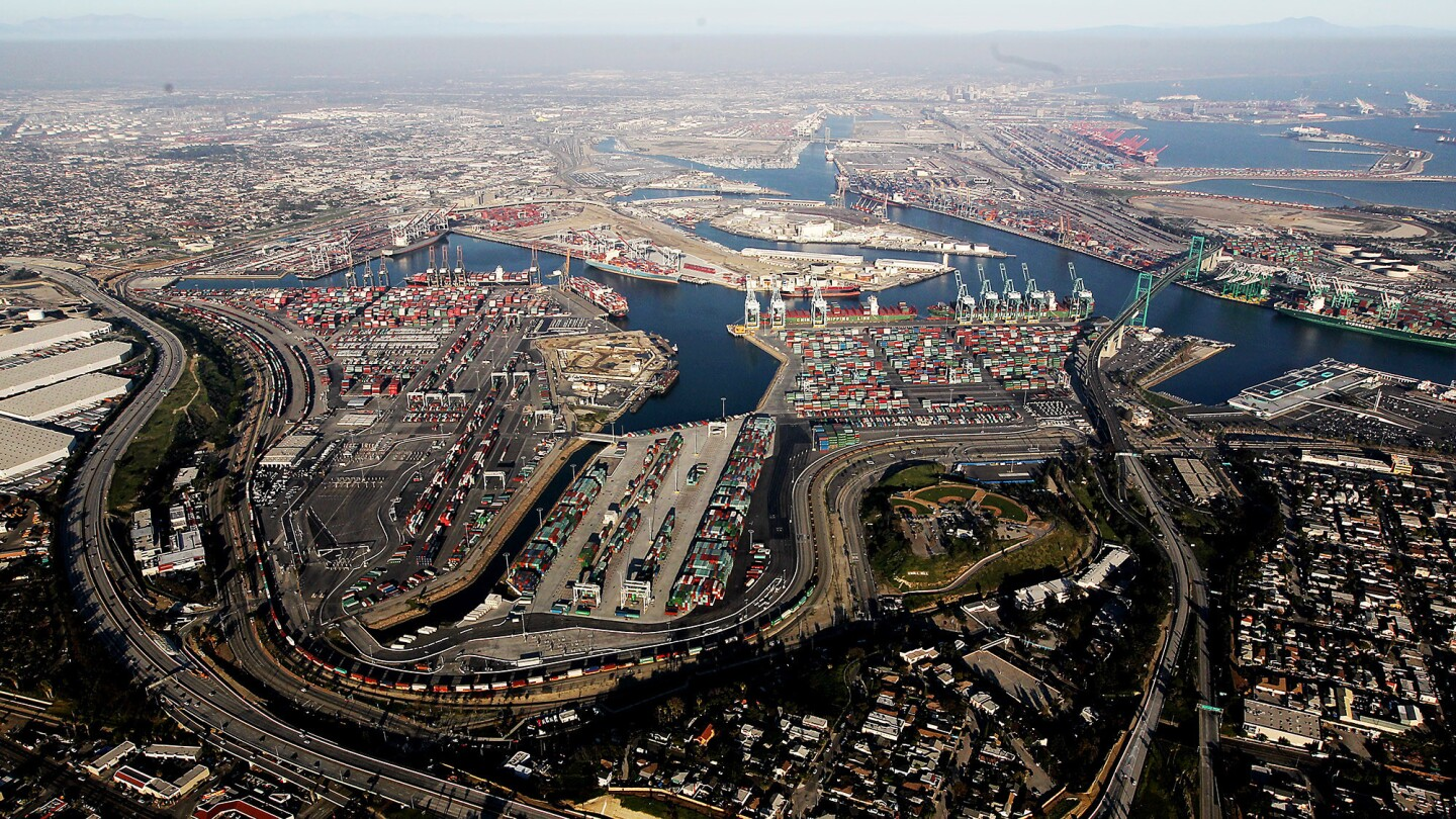A backlog is growing at the ports of Los Angeles and Long Beach.