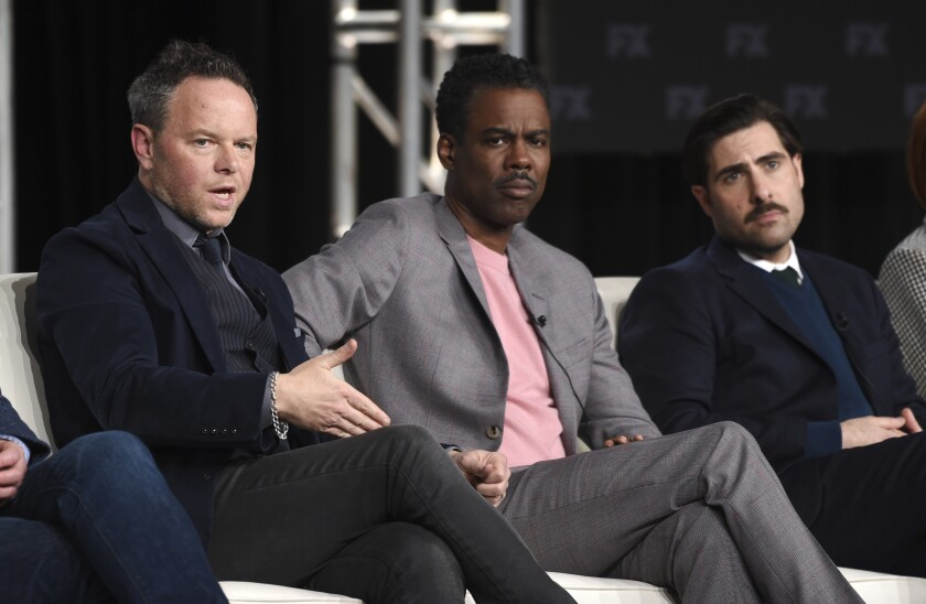 """Fargo"" creator Noah Hawley, from left, and stars Chris Rock and Jason Schwartzman."