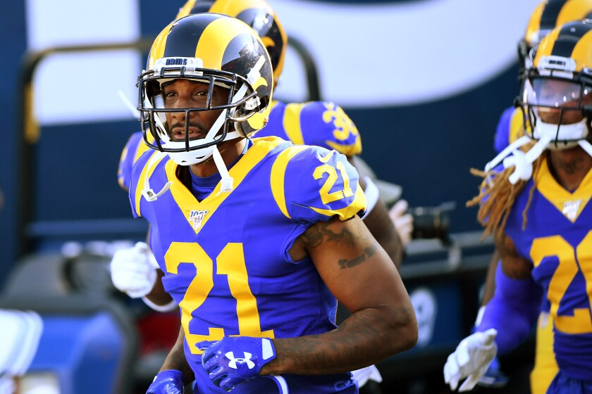 Rams cornerback Aqib Talib takes the field.