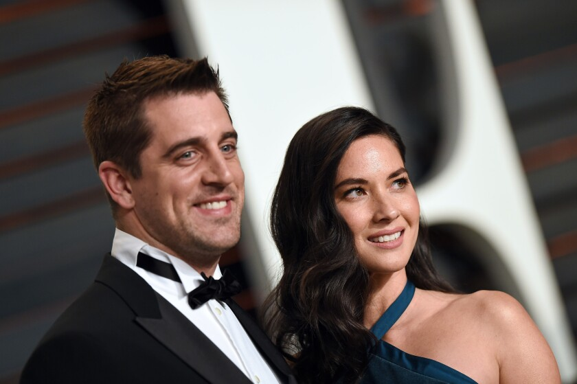 NFL star on Aaron Rodgers and Olivia Munn are not engaged, the actress says.