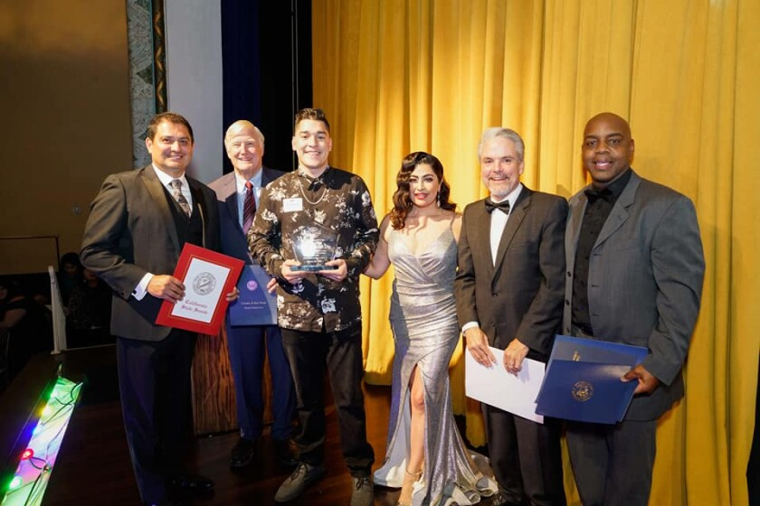 The National City Chamber of Commerce recently held its installation and awards banquet. From left: State Sen. Ben Hueso; San Diego County Supervisor Greg Cox; Ernie Becerra, owner of Salud, the Business of the Year; Jacqueline Reynoso,  president/CEO of the National City Chamber of Commerce; Dave Brook, CEO of My Point Credit Union; Marvin Harrison, treasurer.