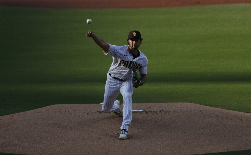 Yu Darvish pitches against the Dodgers on Saturday at Petco Park.