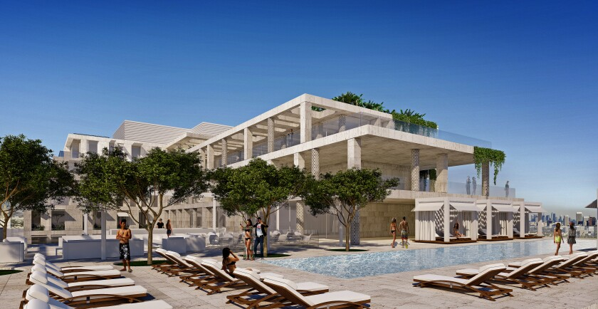 The 6th floor pool deck of the proposed Cheval Blanc Beverly Hills hotel.