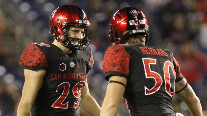 San Diego State place-kicker John Baron II (left) celebrates with long snapper Turner Bernard after Baron kicked a 51-yard field goal with 4:36 remaining against San Jose State at SDCCU Stadium. The field goal provided the winning points.