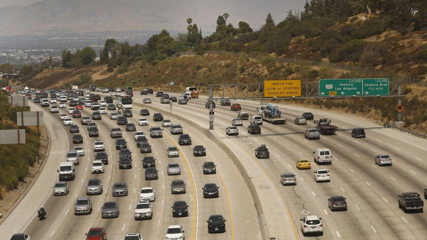 The 405 Freeway traffic looking north to the San Fernando Valley in Los Angeles on August 2.