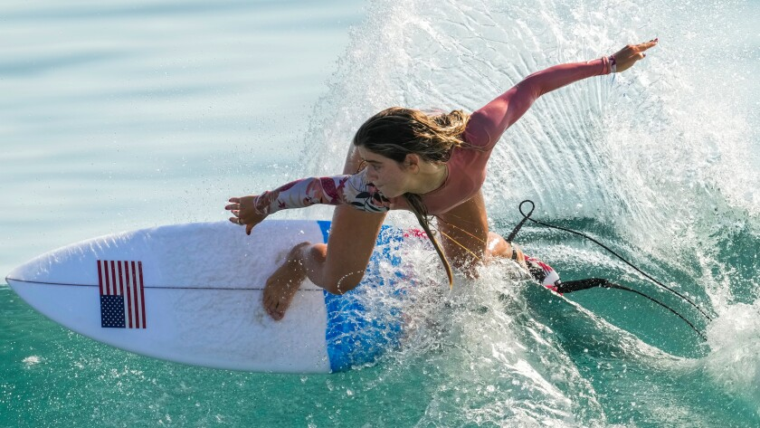 Caroline Marks of the United States rides a wave during a training session.