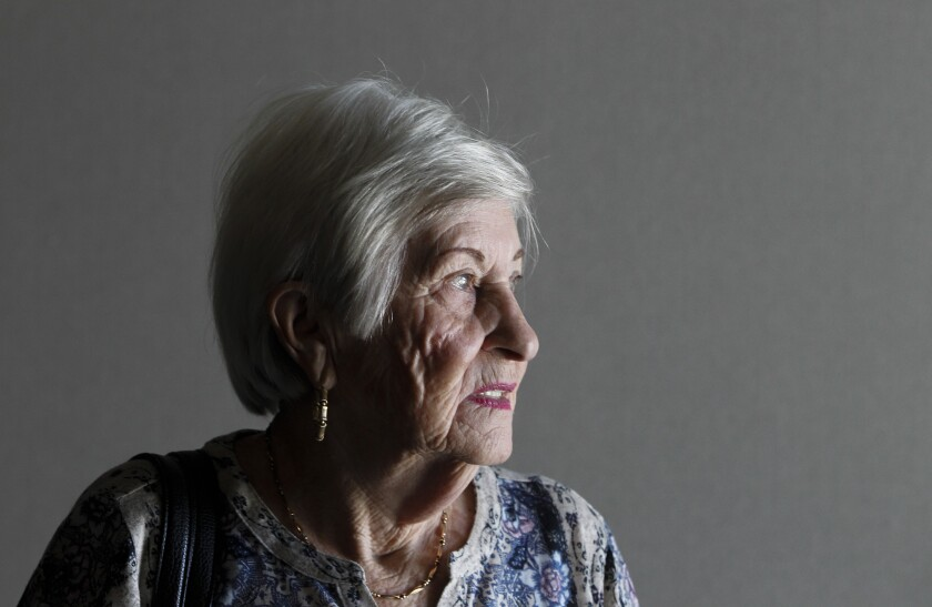 Rose Schindler, 89, a holocaust survivor, paused a moment at Ramona High School after her presentation on Wednesday, October 23, 2019.