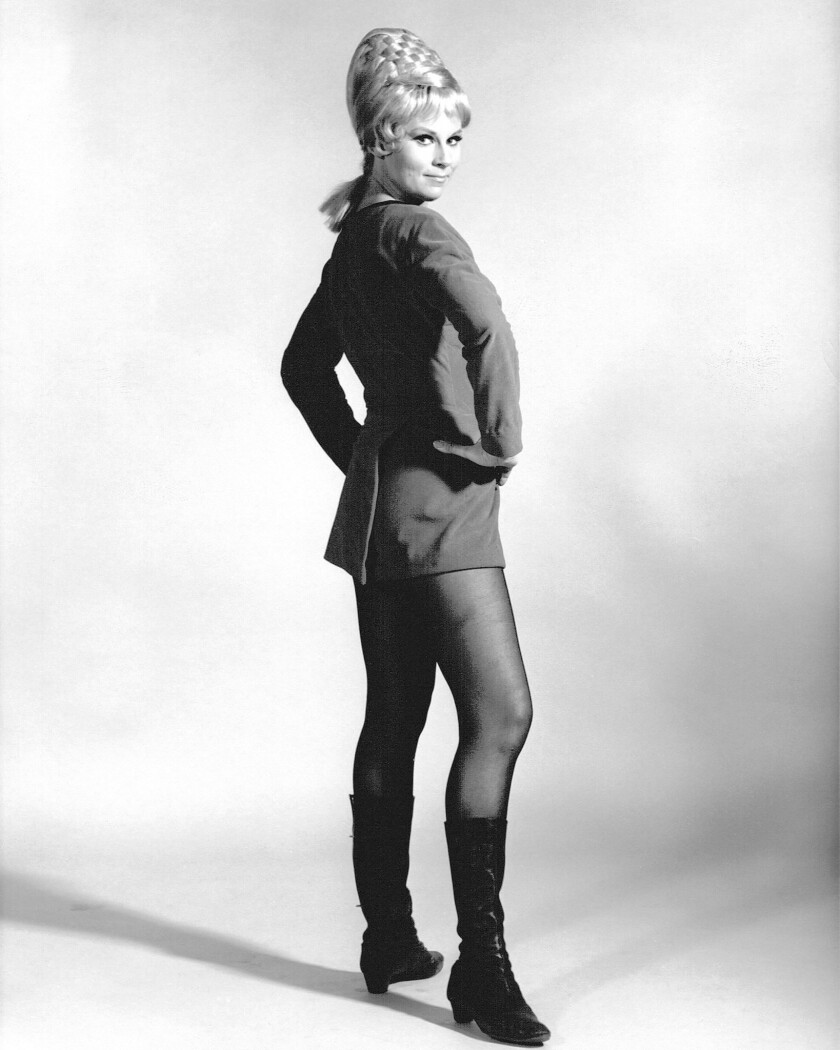 """Actress Grace Lee Whitney as Yeoman Janice Rand in the TV science fiction series """"Star Trek,"""" circa 1967. Whitney has died at the age of 85."""
