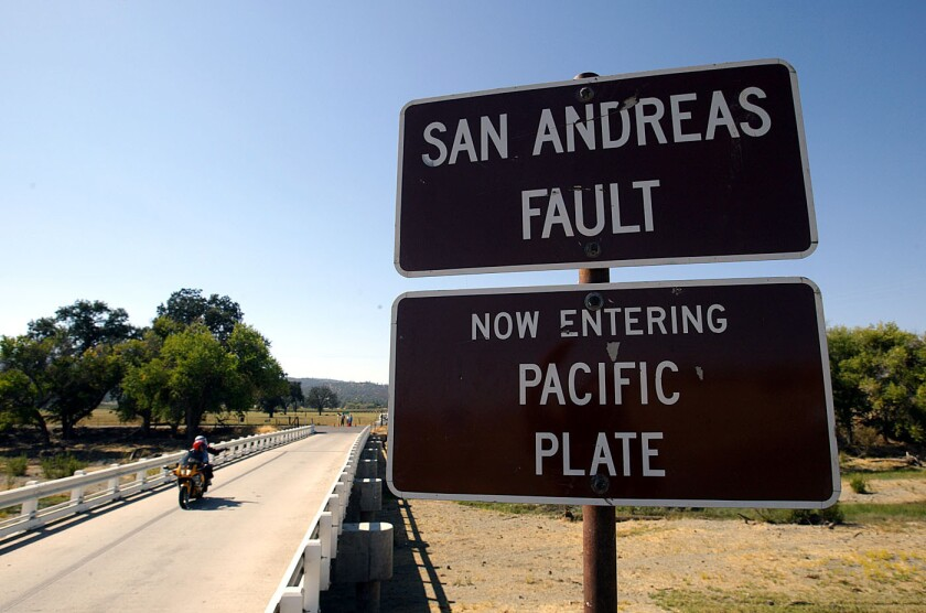 A sign in Parkfield, Calif., advises motorists they are crossing over the San Andreas fault.
