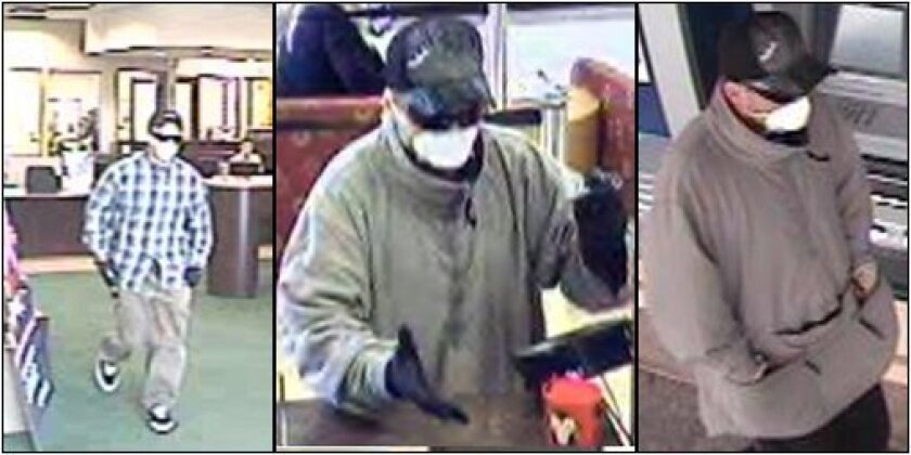 "Bank surveillance photographs of the ""Drywaller Bandit""."