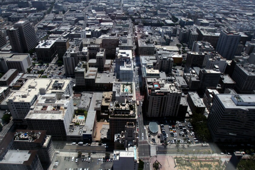 An aerial view taken from the top floor of Analytics Investors offices in Los Angeles. Analytics Investors is located in one of the five tallest skyline buildings in downtown Los Angeles.