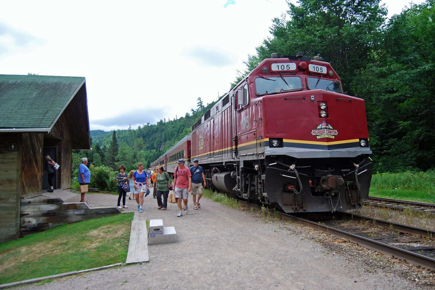 The tour train's arrival at Agawa Canyon Park means passengers have 90 minutes to relax, see the sights and hike the gravel trails.