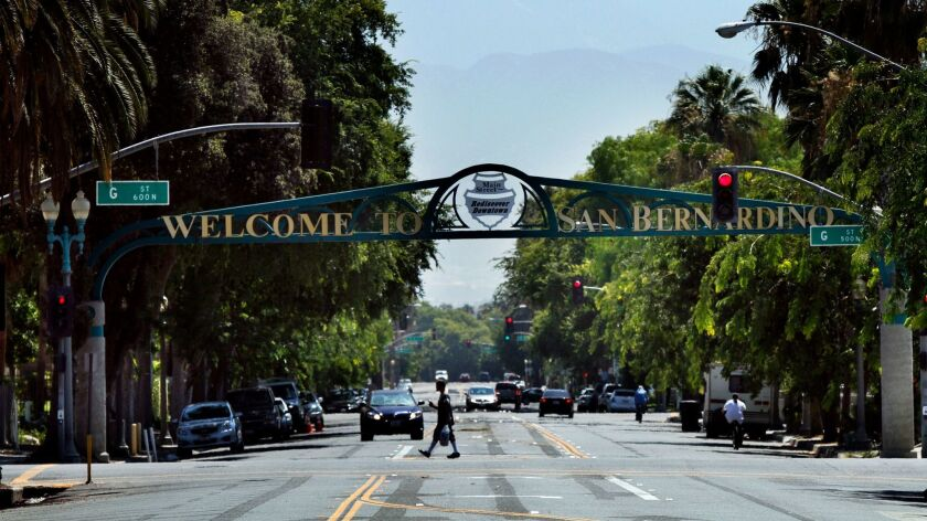 A welcome sign on 6th Street greets visitors in San Bernardino.